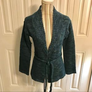 Banana Republic Teal Blue Cardigan with Tie Sz S